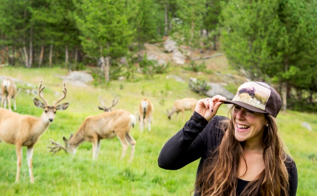 Lindsay and moose hat